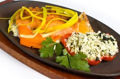 platter σολομός ρυζιού στοκ εικόνα