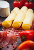 Platter of antipasti and appetizers Stock Photo