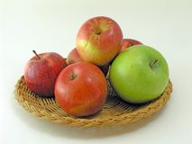 Platter of Apples. Apples on a Straw Platter Stock Photo