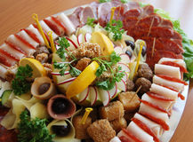 Platter of assorted cold cut meat slices. Pic of hors d oeuvre on a metal plate Stock Image
