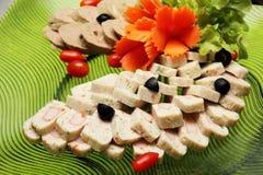 Platter of assorted cold cut  slices. A Platter of assorted cold cut  slices Stock Photography