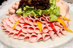 Platter of assorted cold cut slices. Royalty Free Stock Photography