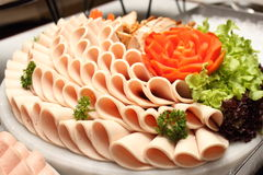 Platter of assorted cold cut slices. Royalty Free Stock Photo