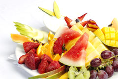 Platter of a assorted fresh fruit Royalty Free Stock Photos
