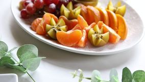 Platter of a assorted fresh fruit. Cut professionally stock footage