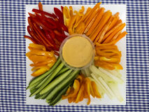 Platter of assorted fresh vegetables with dip Stock Images