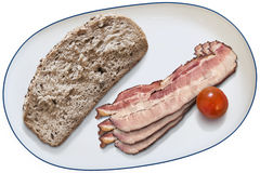 Platter with Bacon Rashers Cherry Tomato and Integral Bread Slic Stock Photo