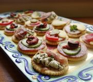 Platter of  Canapes. Royalty Free Stock Images
