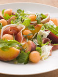 Platter of Cantaloupe Melon Parma Ham Mozzarella Royalty Free Stock Photos