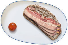 Platter with Cherry Tomato and Bacon Rashers on Bread Slice Isol Stock Photo