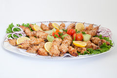Platter with chicken shish kebab with vegetables Royalty Free Stock Photos