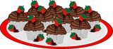 Platter of Chocolate cupcakes Royalty Free Stock Photography