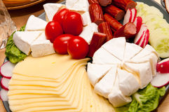 Platter of cold cuts and cheese Royalty Free Stock Image