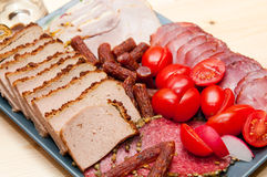 Platter of cold cuts and sausages Stock Photography