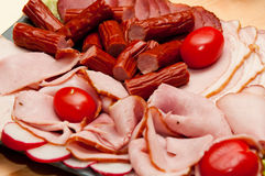 Platter of cold cuts and sausages Royalty Free Stock Photography