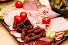 Platter of cold cuts and sausages Royalty Free Stock Photo