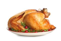 Platter of cooked turkey with garnish on white. Background stock photography