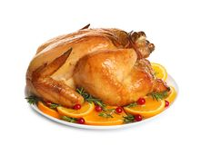 Platter of cooked turkey with garnish. On white background stock image