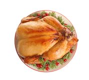Platter of cooked turkey with garnish on white background. Top view stock photo