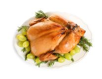 Platter of cooked turkey with garnish, top view. Platter of cooked turkey with garnish on white background, top view royalty free stock photos