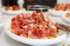 Platter with cured ham Royalty Free Stock Image