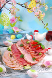 Platter of cured meat,ham and salami on eater table Royalty Free Stock Photo