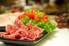Platter of Cured Meat sausage salame closeu Stock Photography