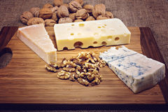 Platter with different types of cheese Royalty Free Stock Photo
