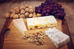 Platter with different types of cheese Royalty Free Stock Image