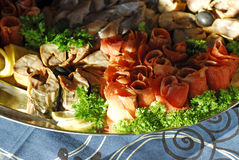Platter of fish delicacies Stock Photography