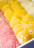 Platter fresh fruit oranges grapefruit Stock Photo