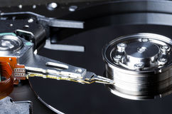 Platter and internals of hard disk Royalty Free Stock Photo