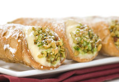 Platter of Italian cannoli Stock Photo