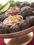 Platter of Kofta Balls with Mango Chutney Royalty Free Stock Image