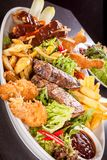 Platter of mixed meats, salad and French fries Royalty Free Stock Images