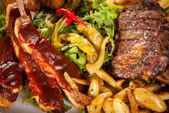Platter of mixed meats, salad and French fries Royalty Free Stock Photos