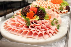 Platter Of Assorted Cold Cut Slices. Royalty Free Stock Photos
