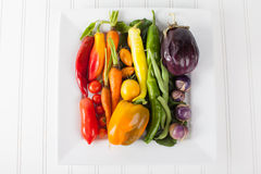 Platter of Rainbow Assorted Vegetables macro shot Royalty Free Stock Images