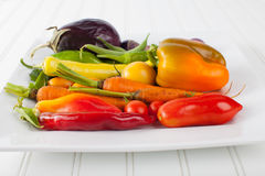 Platter of Rainbow Assorted Vegetables side view Stock Photo