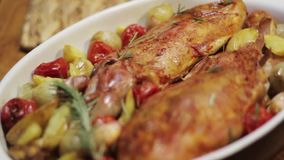 Platter with roasted chicken