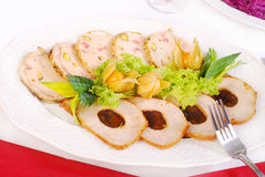 Platter of  roasted meat slices. Platter with sliced loin of pork stuffed with plum and galantine with pistachios Stock Image