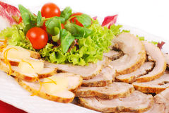 Platter of  roasted meat slices Royalty Free Stock Photo