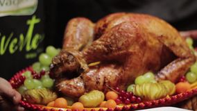 Platter with roasted turkey. And fruits stock video footage
