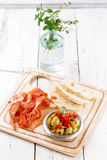 Platter of serrano jamon Cured Meat, Ciabatta and olive Stock Image
