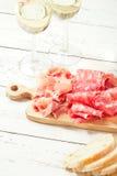 Platter of serrano jamon Cured Meat and ciabatta Stock Photos