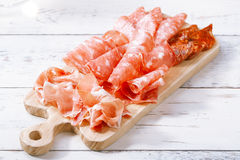 Platter of serrano jamon Cured Meat Stock Image