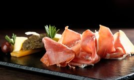 Platter of serrano jamon/Prosciutto Royalty Free Stock Images