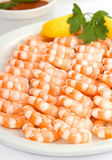 Platter of shrimp cocktail stock image