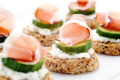 Platter of smoked trout canapes Royalty Free Stock Photos