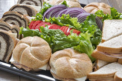 A platter of turkey sandwiches Royalty Free Stock Photo